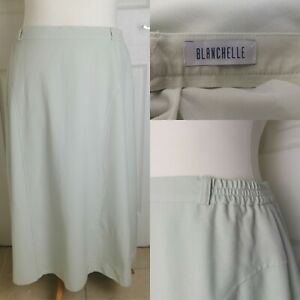 Vintage Size 16 Blanchelle Cream Green Midi Lined A Line Skirt Mature