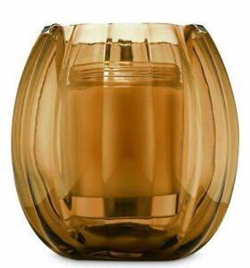 Bath & Body Works Glass Brown Pumpkin Hurricane Single Wick Candle Holder