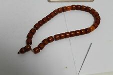 Rare Antique Islamic Catalin Amber Worry Prayer Beads Necklace.