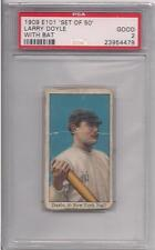 1909 E101 SET OF 50 LARRY DOYLE WITH BAT PSA 2