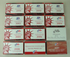 Proof set Silver 1999 - 2010, 12 complete sets - 141 coins  US MINT Run lot