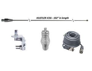"""HUSTLER 102"""" WHIP CB Ham Antenna Stainless Steel,18ft RG8X COAX, SPRING & MOUNT"""