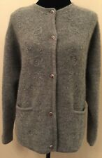 Jantzen Classics Womens Cardigan Sweater Size Large Gray 100% Wool Button Down
