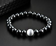 Russian Natrolite Crystal Magnetic Hematite Wellness Stretch Healing Bracelet