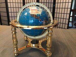Tabletop Gemstone World Globe, Gold Stand w/Compass