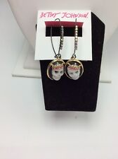 Betsey Johnson Jewelry Halloween Cameo Skull Shepherds Hook Drop Earrings BF12