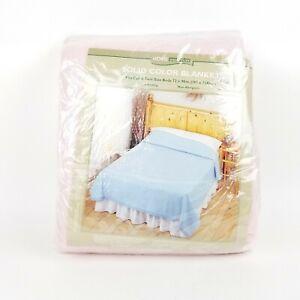NEW Vtg Home Essentials Full Twin Pink Blanket Satin Trim 72 x 90 NIP Sealed