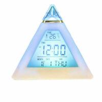 7 Color Mute LED Change Digital Bedroom Child Night Light Glowing Alarm Clock AU