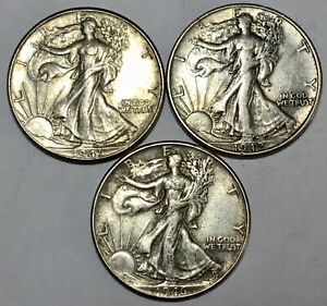 1941, 1942 & 1946 U.S.A. SILVER WALKING LIBERTY HALF DOLLAR COINS, XVF / aUNC