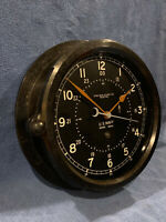 """** Fully Restored** 1945 WWII US NAVY 12/24hr. Chelsea Ships Clock 8.5"""" Dial"""