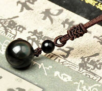 Natural Black Obsidian Stone Charm Pendant Necklace Bead Drop Jewelry Women Gift