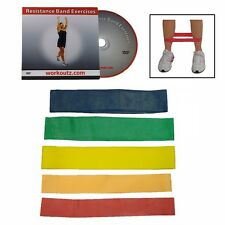 Workoutz Ankle Resistance Bands With Dvd (Set Of 5) Fitness Exercise Butt Loop