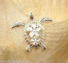 20mm Hawaiian Sterling Silver Petroglyph Honu Sea Turtle Plumeria CZ Pendant