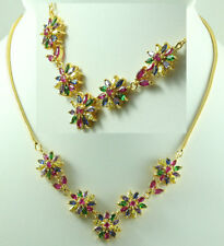 FASHION JEWELRY GEMS 14K YELLOW GOLD Multi-Color SAPPHIRE Beauty NECKLACE Q881