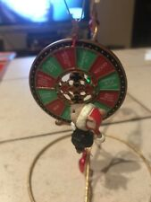 ENESCO CHRISTMAS ORNAMENT: WHEEL MERRY WISHES MOUSE CASINO SERIES NEW in BOX
