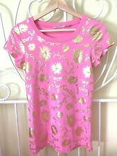 Juicy Couture Women Gold Floral Print Pink 100% Cotton Short Sleeve Top XS