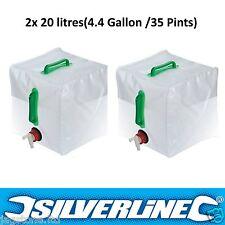 2x 20l Agua Portador Contenedor plegable apilable con grifo acampada Botella