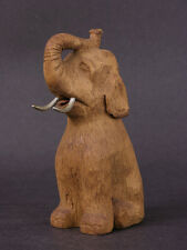 Early 20th Century Anonymous Wood Carving Sitting Circus Elephant