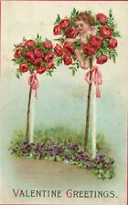 408 Cupid hiding In Rose Bouquet Bow and Arrow  Valentine Greetings Postcard