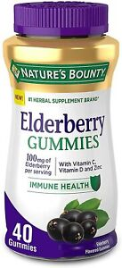 Nature's Bounty Elderberry Gummies, Contains Vitamin A, C, D, E and Zinc, 40...