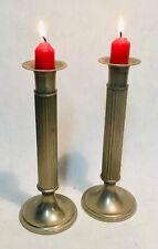 Pair of Vintage Brass silver colored candleholder kerzenhalter bougeoir