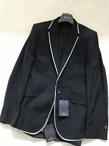 """Paul Smith """"PS"""" Black 1 button Single Breasted Evening Suit Size 38 / 48"""
