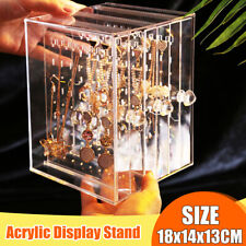 Acrylic Earring Display Rack Stand Necklace Jewelry Organizer Holder Storage Box
