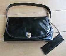 Vintage ! TBE ! Superbe SAC à main VERNI Noir avec Miroir & mouchoir brodé !