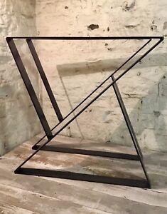 2 Handmade Z Frame Flat Bar Raw Steel Large Dining Table Legs Industrial