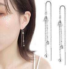 Korean Style Silver Long Line Bead Earrings Drop Dangle Women Party Jewelry Gift