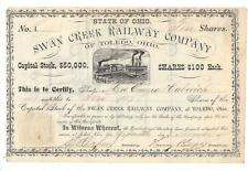 Stk Swan Creek Railway Co. of Toledo, Ohio  #5 10 shares Not cancelled  Ran 1.51