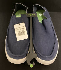New Sanuk Men's Pick Pocket Slip On Linen Shoes Navy Size 11