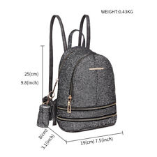 Ladies Girls Small Backpack Sequins Shiny Lovely School Shoulder Bag PU Leather Black
