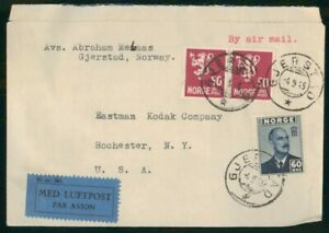 MayfairStamps Norway 1945 Gjerstad to Rochester New York Air Mail Cover wwo48907