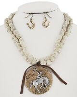 RODEO horse and rider on goldtone pendant necklace set  western  17 inch