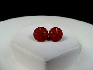 """BAKELITE AUTHENTIC ORIGINAL RED STYLIZED 1"""" SCREW BACK EARRINGS TESTED 1930-1950"""