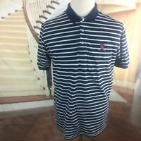 Men's Polo Ralph Lauren Golf Large Navy Striped Soft 100% Cotton S/S Polo Shirt