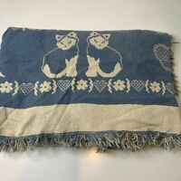 Goodwin Weavers knit woven throw blanket blue white cat hearts fringe edge cotto