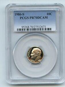 1986 S 10C Roosevelt Dime Proof PCGS PR70DCAM
