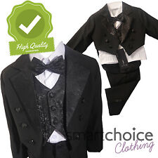Boys Kids Blazer Waist Coat Shirt Trousers & Bowtie FULL 5 PIECE SET 3m to 6 Yrs