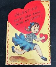 Vtg 40s 50s Run Away Girl Valentines Card Greeting Mary Jane Shoes Ameri-Card