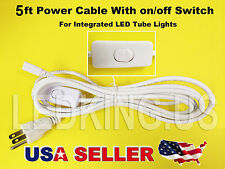 5FT Power Cable With Switch for Integrated LED Tube Light Replacement Clover 5ft