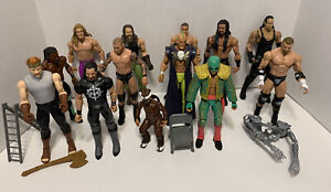 Lot of 13 WWE Wrestling Action Mattel Figures - Elites Basic Accessories AEW