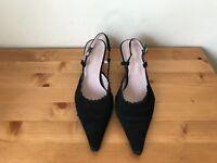 TEATRO alla Scala black suede lace trim slingback pumps shoes sz 36.5 Italy