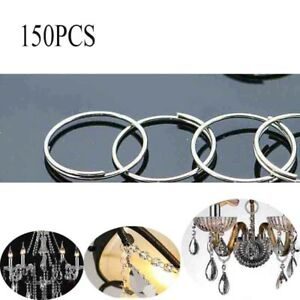 150pcs 12mm Silver Crystal Chandelier Bead Connector Clip Round Ring DIY Parts
