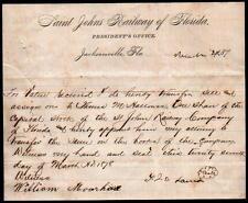 Jacksonville FL - Saint Johns Railway of Florida c1875 EX RARE Letter Head
