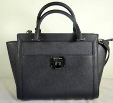 b0b7dc783c76 Michael Kors Tina Black Silver Leather Large Top Zip Satchel Handbag