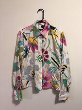 Gucci Multi Color Flora Print Silk Blouse Button Up Shirt