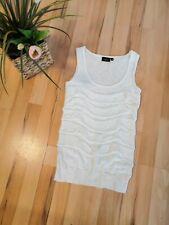 Fransa White Linen Blend Designer Frill Vest,XS