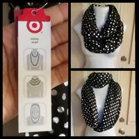 NEW women Infinity Scarf TARGET black silver polyester polka dots lightweight